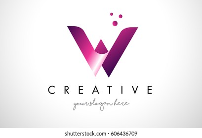 W Letter Logo Design Template with Purple Colors and Dots