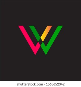 W letter logo design with vector file with more color