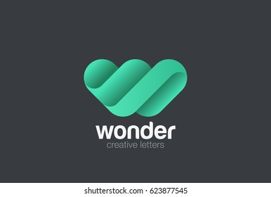 W Letter Logo design vector template. Creative character friendly corporate style Logotype.