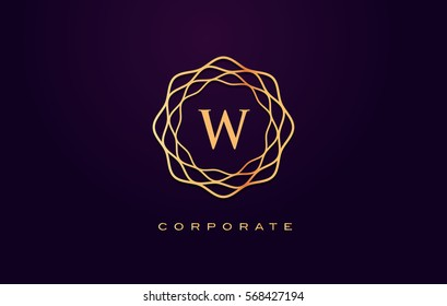 w Letter Logo. Gold Letter Design Vector with Golden Luxury Colors and Monogram Design.
