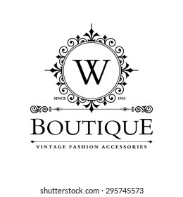 W Letter logo, Monogram design elements, line art logo design. Beautiful Boutique Logo Designs, Business sign, Restaurant, Royalty, Cafe, Hotel, Heraldic, Jewelry, Fashion, Wine. Vector illustration