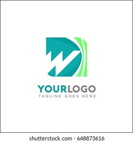 W letter logo template. Design vector wave square icon. You can use in the buildings, awards, apartments, hotel and other organization concept of pattern.