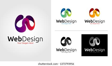W Letter Logo Template Set