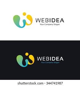 W letter logo,web idea logo,idea logo,web design Logo,Vector Logo Template