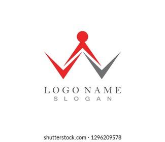 W Letter, People Logo design Vector
