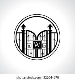 W letter vintage fence vector logo design template. Vintage Luxury Gate Logo