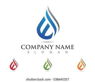 W Letter with water droplet element icons business logo