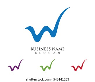 W letter wave Logo Template vector illustration