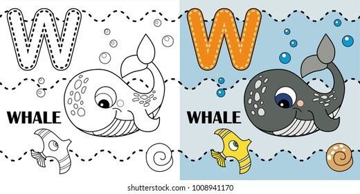 W Letter Whale Coloring Book Or Page Vector Cartoon Alphabet