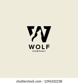 W letter wolf logo vector icon