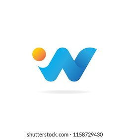 W logo design template vector