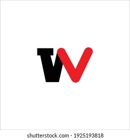 W Logo Letter Design Black and Red colors Vector Illustration Modern Monogram Icon.