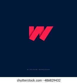 W logo. W monogram. Red origami letter on  dark background.