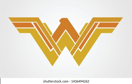 w logo yellow color vector template