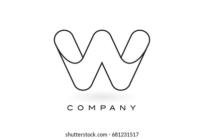 W Monogram Letter Logo With Thin Black Monogram Outline Contour. Modern Trendy Letter Design Vector Illustration.