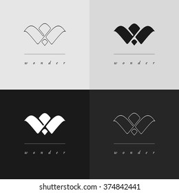W monogram logo design in two styles