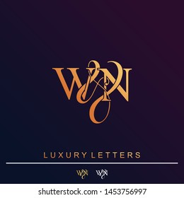 W & N / WN logo initial vector mark. Initial letter W and N WN logo luxury vector logo template.