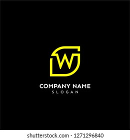 w rounded square technology logo letter in yellow line color