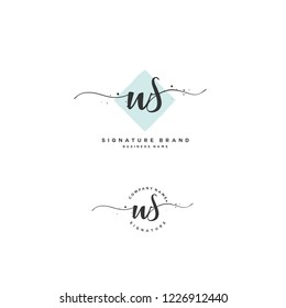 W S WS Initial letter handwriting and  signature logo.