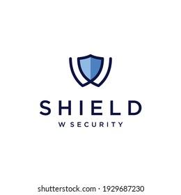 W shield logo vector modern simple combination design concepts