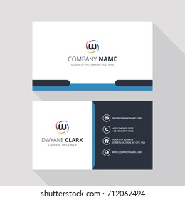 W Simple ID Card With Logo or Icon For Your Business