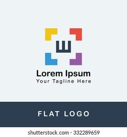 W Square Flat Logo Design, Colorful Logo, Corporate logo, Flat color, simple Logo, Alphabet Logo