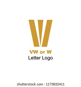 W or VW letter. Monogram. Logo with negative space