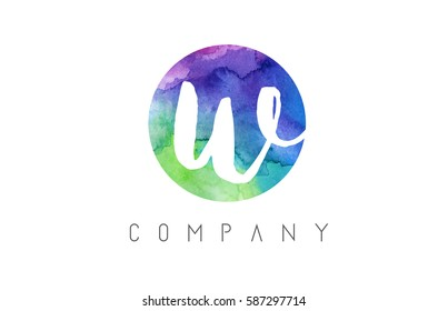 w Watercolor Letter Logo Design with Circular Brush Pattern and Blue Green Purple Colors.
