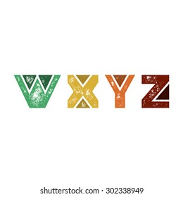 W X Y Z - Abstract grunge retro alphabet from simple geometric shapes - Colorful capital letters - Typography and infographic resource