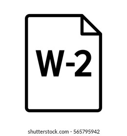 W-2 or W2 IRS tax form document line art vector icon for finance apps and websites