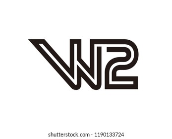 W2 logo combination of letters and numbers