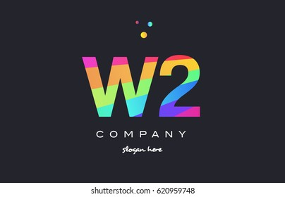 W2 w 2 two letter number combination creative color green orange blue magenta pink company logo vector icon spectrum