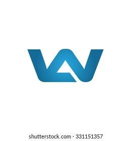 WA or AW company linked letter logo blue