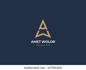 WA or AW. Monogram of Two letters A&W. Luxury, simple, minimal and elegant WA logo design. Vector illustration template.