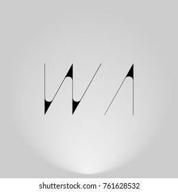 WA Black thin minimalist LOGO Design with Highlight on Gray background.
