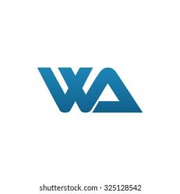 WA company linked letter logo blue