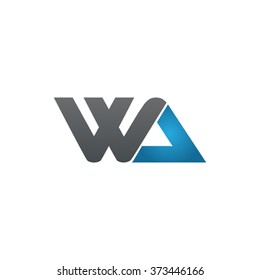 WA company linked letter logo black blue