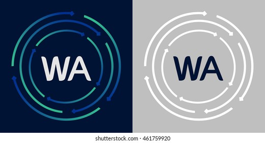 WA design template elements in abstract background logo, design identity in circle, letters business logo icon, blue/green alphabet letters, simplicity graphics