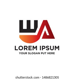 WA Or EA Letter logo vector design template