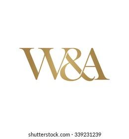W&A Initial logo. Ampersand monogram golden logo