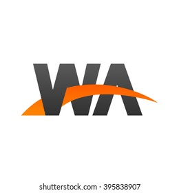 WA initial overlapping swoosh letter logo black orange