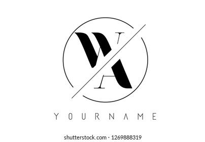 WA Letter Logo with Cutted and Intersected Design and Round Frame Vector Illustration