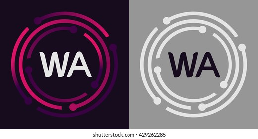 WA letters business logo icon design template elements in abstract background logo, design identity in circle, alphabet letter