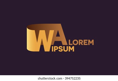 WA letters logo, W and A letters logo alphabet design.