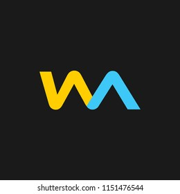 WA logo designed with letter W and A in vector format.