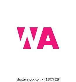 WA Logo. Vector Graphic Branding Letter Element. White Background