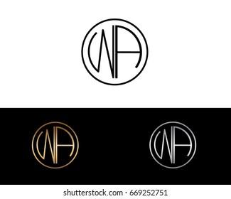 WA round circle shape initial letter logo