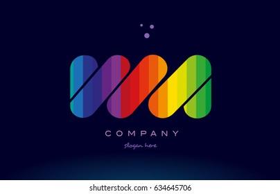 wa w a alphabet letter colorful creative colors text dots creative company logo vector icon design template
