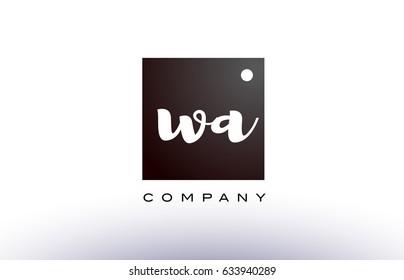 WA W A black white handwritten handwriting alphabet company letter logo square design template dot dots creative abstract
