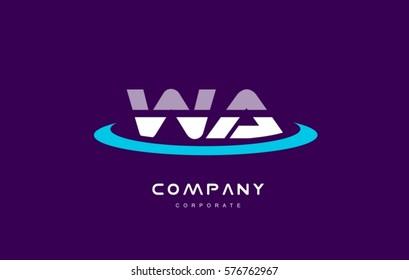 wa w a cyan magenta blue letter combination alphabet vector company logo icon sign design template